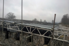 inside shot of scaffolding on roof of domestic property