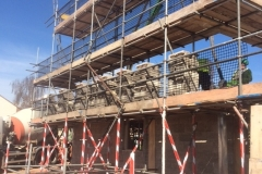 scaffolding on exterior property