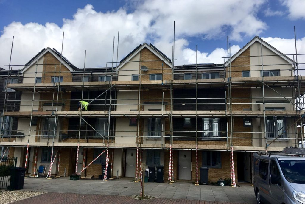 scaffolding on block of flats